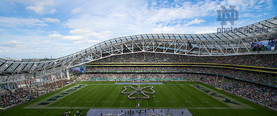 Sept. 1, 2012; Members of the Notre Dame Marching Band form a cloverleaf during halftime of the 2012 Emerald Isle Classic against Navy at Aviva Stadium in Dublin, Ireland. Photo by Barbara Johnston/University of Notre Dame