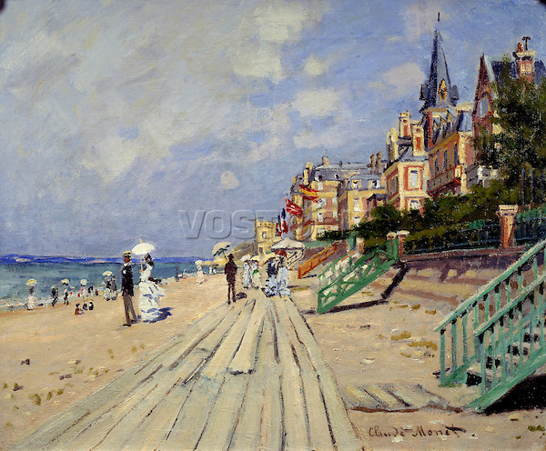 Claude Monet - The Beach at Trouville (1870). Hartford, Wadsworth Atheneum Museum of Art.