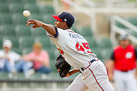 Rome Braves relief pitcher Ronan Pacheco #45 delivers a pitch to the plate against the Kannapolis Intimidators at CMC-Northeast Stadium on August 5, 2012 in Kannapolis, North Carolina.  The Intimidators defeated the Braves 9-1.  (Brian Westerholt/Four Seam Images)