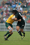 Ma'a Nonu of the All Blacks makes a break during the match of DHL Hong Kong Bledisloe Cup between New Zealand All Blacks and Australia Wallabies at Hong Kong Stadium on October 30, 2010 in Hong Kong, China.