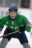 Notre Dame Fighting Irish of Batavia forward Reid Rademacker (5) during a varsity ice hockey game against the Brockport Blue Devils during the Section V Rivalry portion of the Frozen Frontier outdoor hockey event at Frontier Field on December 22, 2013 in Rochester, New York.  (Copyright Mike Janes Photography)
