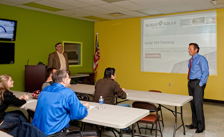 Jack Scalo, President of Scalo Solar speaks to a group of Carnegie Mellon University students about different solar applications. Pittsburgh.