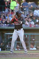 Rudy Giron (12) of the Lake Elsinore Storm bats against the Inland Empire 66ers at San Manuel Stadium on April 29, 2017 in San Bernardino, California. Inland Empire defeated Lake Elsinore, 3-1. (Larry Goren/Four Seam Images)
