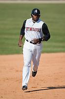 Kannapolis first baseman Brandon Allen (36) rounds second base following Chris Carter's 3-run home run in the first inning versus Columbus at Fieldcrest Cannon Stadium in Kannapolis, NC, Sunday, July 22, 2007.