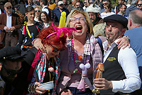 Pictured: Two women look amused in Tirnavos, central Greece. Monday 11 March 2019<br /> Re: Bourani (or Burani) the infamous annual carnival which dates to 1898 which takes place on the day of (Clean Monday), the first days of Lent in Tirnavos, central Greece, in which men hold phallus shaped objects as scepters in their hands.