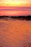 A North Shore beach lit up by a beautiful sunset