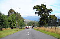 The cyclists ride down West Bush Rd during stage five of the NZ Cycle Classic UCI Oceania Tour in Masterton, New Zealand on Tuesday, 26 January 2017. Photo: Dave Lintott / lintottphoto.co.nz