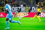 09.08.2019, Merkur Spiel-Arena, Düsseldorf, GER, DFB Pokal, 1. Hauptrunde, KFC Uerdingen vs Borussia Dortmund , DFB REGULATIONS PROHIBIT ANY USE OF PHOTOGRAPHS AS IMAGE SEQUENCES AND/OR QUASI-VIDEO<br /> <br /> im Bild | picture shows:<br /> Mats Hummels (Borussia Dortmund #15) mit dem Pass in die Spitze, <br /> <br /> Foto © nordphoto / Rauch