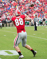 The Georgia Bulldogs played North Texas Mean Green at Sanford Stadium.  After North Texas tied the game at 21 early in the second half, the Georgia Bulldogs went on to score 24 unanswered points to win 45-21.  Georgia Bulldogs tight end Arthur Lynch (88)