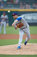 Buffalo Bisons starting pitcher Thomas Pannone (47) delivers a pitch to the plate against the Caballeros de Charlotte at BB&T BallPark on July 23, 2019 in Charlotte, North Carolina. The Bisons defeated the Caballeros 8-1. (Brian Westerholt/Four Seam Images)