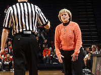 Feb. 3, 2011; Charlottesville, VA, USA; Virginia Cavaliers head coach Debbie Ryan reacts to a call during the game against the Wake Forest Demon Deacons at the John Paul Jones Arena.  Mandatory Credit: Andrew Shurtleff