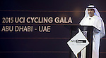 Mr Aref Hamad Al Awani speaks on stage at the UCI Gala Dinner held in the Yas Marina Hotel, Abu Dhabi. 11th October 2015.<br /> Picture: ANSA/Claudio Peri, Angelo Carconi | Newsfile