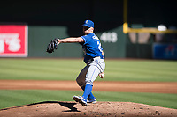 Kansas City Royals starting pitcher Glenn Sparkman (28) delivers a pitch to the plate during an Instructional League game against the Arizona Diamondbacks at Chase Field on October 14, 2017 in Scottsdale, Arizona. (Zachary Lucy/Four Seam Images)