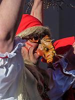 Hexen beim Aufzug der Masken beim Nassereither Schellerlauf, Fasnacht in Nassereith, Bezirk Imst, Tirol, Österreich, Europa, immaterielles UNESCO Weltkulturerbe<br /> witch at the gathering of the masks, Nassereither Schellerlauf-Fasnacht, Nassereith, Tyrol, Austria Europe, Intangible World Heritage