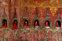 18th Century Shwe Yan Paya Pagoda and the oval shape Monastery, near Inle  Shan State, Myanmar