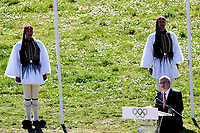12th March 2020, Olympia, Greece;  International Olympic Committee IOC president Thomas Bach gives a speech during the flame lighting ceremony for Tokyo 2020 Olympic Games