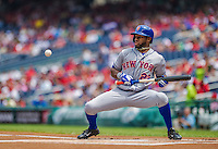28 July 2013: New York Mets outfielder Eric Young is brushed back with a pitch by the Washington Nationals at Nationals Park in Washington, DC. The Nationals defeated the Mets 14-1. Mandatory Credit: Ed Wolfstein Photo *** RAW (NEF) Image File Available ***