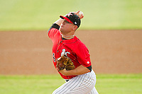 Kannapolis Intimidators relief pitcher Brad Goldberg (24) in action against the Greensboro Grasshoppers at CMC-Northeast Stadium on July 13, 2013 in Kannapolis, North Carolina.  The Intimidators defeated the Grasshoppers 7-5.   (Brian Westerholt/Four Seam Images)