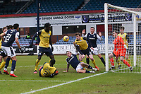 20th February 2021; Dens Park, Dundee, Scotland; Scottish Championship Football, Dundee FC versus Queen of the South; James Maxwell of Queen of the South prevents Jason Cummings of Dundee from scoring