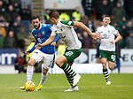 St Johnstone v Celtic…07.10.18…   McDiarmid Park    SPFL<br />Drey Wright is closed down by Filip Benkovic<br />Picture by Graeme Hart. <br />Copyright Perthshire Picture Agency<br />Tel: 01738 623350  Mobile: 07990 594431