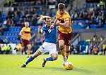 St Johnstone v Motherwell…28.09.19   McDiarmid Park   SPFL<br />Stevie May goes down in the box under a challenge from Declan Gallagher<br />Picture by Graeme Hart.<br />Copyright Perthshire Picture Agency<br />Tel: 01738 623350  Mobile: 07990 594431