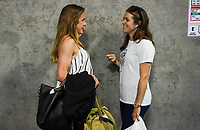 CHARLOTTE, NC - OCTOBER 03: Heather O'Reilly and Kelley O'Hara of the United States chat prior to their game versus Korea Republic at Bank of American Stadium, on October 03, 2019 in Charlotte, NC.