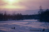 Sled Dog Teams on Skwenta River @ Sunset '85 Iditarod<br /> AK