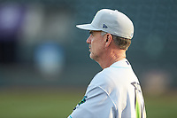 Lynchburg Hillcats pitching coach Tony Arnold (17) prior to the game against the Winston-Salem Dash at BB&T Ballpark on May 3, 2018 in Winston-Salem, North Carolina. The Dash defeated the Hillcats 5-3. (Brian Westerholt/Four Seam Images)