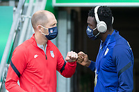 BELFAST, NORTHERN IRELAND - MARCH 28: Gregg Berhalter speaks to Daryl Dike of the United States during a game between Northern Ireland and USMNT at Windsor Park on March 28, 2021 in Belfast, Northern Ireland.