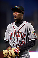 Quad Cities River Bandits relief pitcher Jojanse Torres (39) walks off the field between innings of a Midwest League game against the Fort Wayne TinCaps at Parkview Field on May 3, 2019 in Fort Wayne, Indiana. Quad Cities defeated Fort Wayne 4-3. (Zachary Lucy/Four Seam Images)