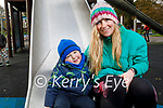 Sarah Gleeson with little Rian Hobbert enjoying the playground in the Tralee town park on Saturday.