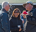 April 28, 2015: Trainer Todd Pletcher, Owner Barbara Banke and Owner Elliot Walden chat while Carpe Diem gets a bath after exercising for the 141st Kentucky Derby at Churchill Downs in Louisville, Kentucky. Scott Serio/CSM