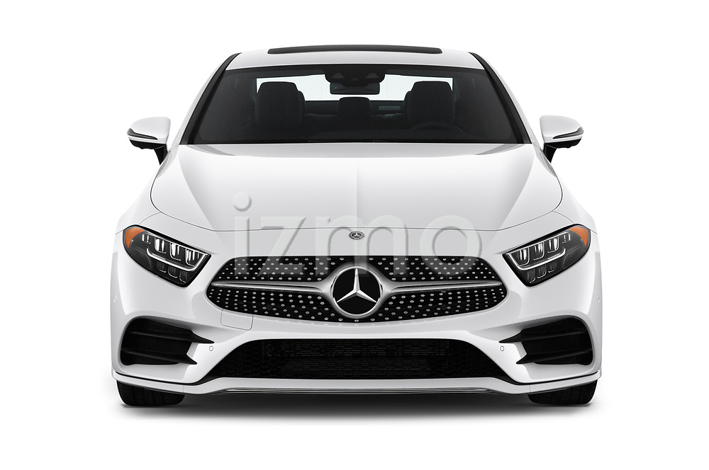 Car photography straight front view of a 2019 Mercedes Benz CLS-Coupe CLS450 4 Door Sedan