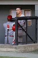 Greeneville Reds third baseman Jonathan India (3) in the dugout before a game against the Burlington Royals at the Burlington Athletic Complex on July 7, 2018 in Burlington, North Carolina. The game was India's first game as a professional baseball player. Burlington defeated Greeneville 2-1. (Robert Gurganus/Four Seam Images)