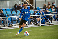 SAN JOSE, CA - MAY 22: Paul Marie #3 of the San Jose Earthquakes dribbles the ball during a game between San Jose Earthquakes and Sporting Kansas City at PayPal Park on May 22, 2021 in San Jose, California.