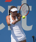 July 31,2017:   Lauren Davis (USA) struggles against Aryna Sabalenka (BLR) losing the first set 7-5, at the Citi Open being played at Rock Creek Park Tennis Center in Washington, DC, .  ©Leslie Billman/Tennisclix/Cal Sport Media
