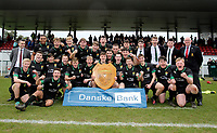 Wednesday 20th March 2019 | 2019 Schools Shield Final<br /> <br /> Sullivan Upper captain Jamie Thallon and his team celebrate winning the Ulster Schools Subsidiary Shield after they defeated Bangor Grammar in the final played at The Dub Arena, Queens University, Belfast, Northern Ireland. Photo by John Dickson / DICKSONDIGITAL