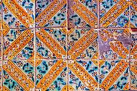 Tunisia, Sidi Bou Said.  Old Ceramic Tiles on a Public Bench.
