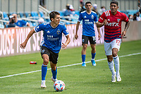 SAN JOSE, CA - APRIL 24: Shea Salinas #6 of the San Jose Earthquakes out paces Freddy Vargas #17 of FC Dallas during a game between FC Dallas and San Jose Earthquakes at PayPal Park on April 24, 2021 in San Jose, California.