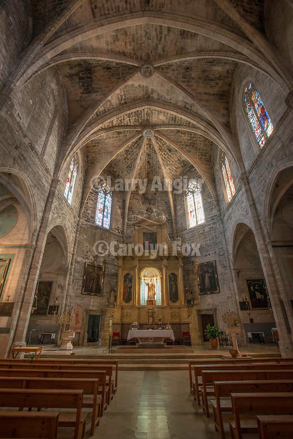 Main altar, Església de Sant Pere, Petra, Mallorca, gothic interior of the church