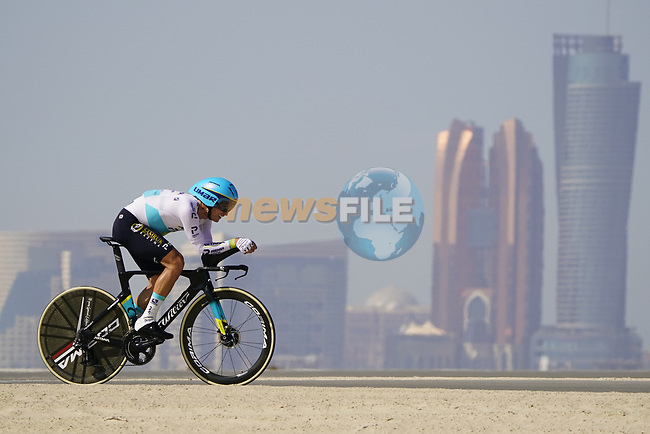 Kazakh Champion Alexey Lutsenko (KAZ) Astana-Premier Tech during Stage 2 of the 2021 UAE Tour an individual time trial running 13km around  Al Hudayriyat Island, Abu Dhabi, UAE. 22nd February 2021.  <br /> Picture: Eoin Clarke | Cyclefile<br /> <br /> All photos usage must carry mandatory copyright credit (© Cyclefile | Eoin Clarke)