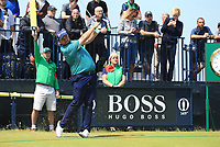 13th July 2021; The Royal St. George's Golf Club, Sandwich, Kent, England; The 149th Open Golf Championship, practice day; Shane Lowry (IRE) hits his tee shot at the par three 3rd hole