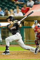 Kyle Robinson (32) of the Kannapolis Intimidators follows through on his swing against the Lakewood BlueClaws at FirstEnergy Park on August 8, 2012 in Lakewood, New Jersey.  The BlueClaws defeated the Intimidators 5-0.  (Brian Westerholt/Four Seam Images)
