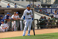 Los Angeles Dodger Justin Turner (31) on rehab assignment playing for the Rancho Cucamonga Quakes awaits his at bat against the Visalia Rawhide at LoanMart Field on May 13, 2018 in Rancho Cucamonga, California. The Quakes defeated the Rawhide 3-2.  (Donn Parris/Four Seam Images)