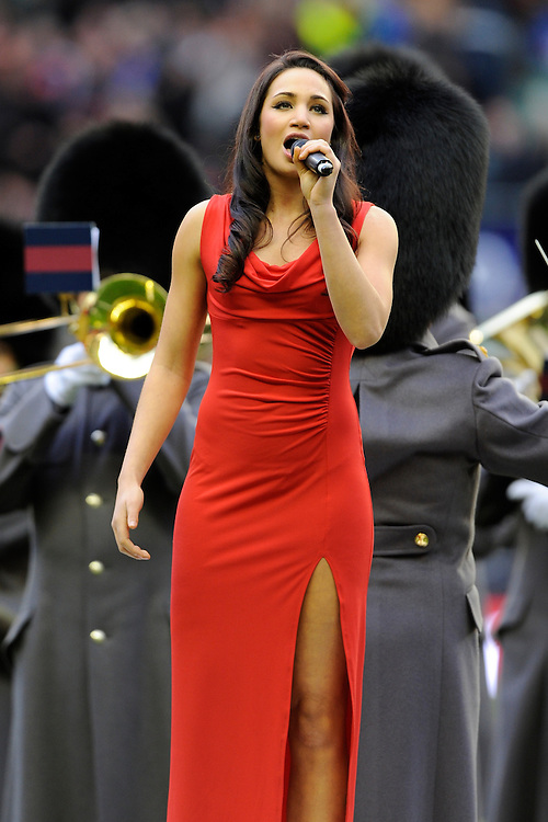 Laura Wright sings the national anthems during the RBS 6 Nations match between England and Scotland at Twickenham on Saturday 02 February 2013 (Photo by Rob Munro)