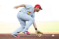 Daniel Descalso (33) of the St. Louis Cardinals fields a ground ball during a game against the Springfield Cardinals at Hammons Field on April 2, 2012 in Springfield, Missouri. (David Welker/Four Seam Images)