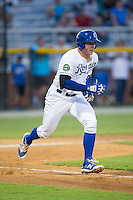 Chris DeVito (34) of the Burlington Royals hustles down the first base line against the Kingsport Mets at Burlington Athletic Stadium on July 18, 2016 in Burlington, North Carolina.  The Royals defeated the Mets 8-2.  (Brian Westerholt/Four Seam Images)