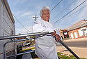 Chef Leah Chase stands outside of her FEMA trailer located across the street from her famous restaurant, Dooky Chase's,  which was flooded during Hurricane Katrina, New Orleans, Friday, March 9, 2007..(AP Photo/Cheryl Gerber).
