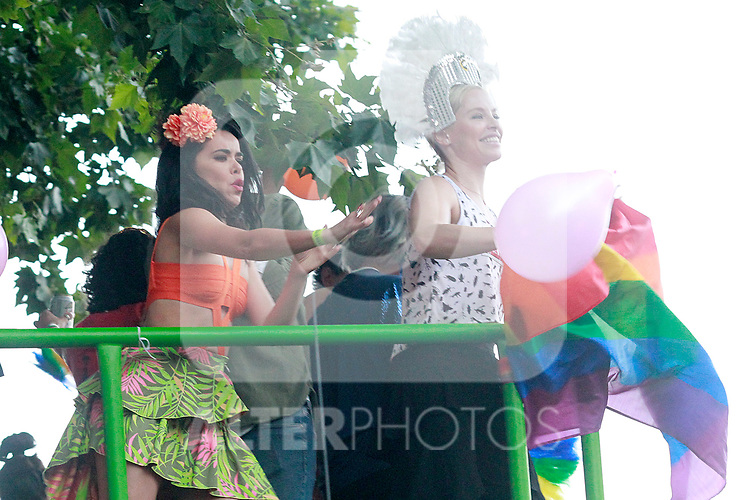 Spanish singer Soraya and the actress Beatriz Luengo (l) during the demonstration of World Pride Madrid 2017. July 1, 2017. (ALTERPHOTOS/Acero)
