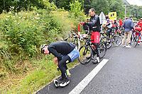 July 13th 2021, Saint-Gaudens, Haute-Garonne, France: Riders change clothing during stage 16 of the 108th edition of the 2021 Tour de France cycling race, a stage of 169 kms between El Pas de la Casa and Saint-Gaudens.